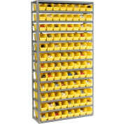 "Steel Shelving With 144 4""H Plastic Shelf Bins Yellow, 36x12x72-13 Shelves"