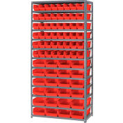 "Steel Shelving with 60 4""H Plastic Shelf Bins Red, 36x18x72-13 Shelves"