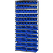 "Steel Shelving with Total 72 4""H Plastic Shelf Bins Blue, 36x18x72-13 Shelves"