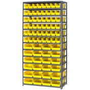 "Steel Shelving with Total 72 4""H Plastic Shelf Bins Yellow, 36x18x72-13 Shelves"