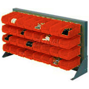 "Louvered Bench Rack 36""W x 20""H With 22 of Red Premium Stacking Bins"