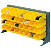 """Louvered Bench Rack 36""""W x 20""""H With 32 of Yellow Stacking Akrobins"""