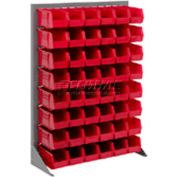 """Singled Sided Louvered Bin Rack 35""""W x 15""""D x 50""""H with 58 of Red Stacking Akrobins"""