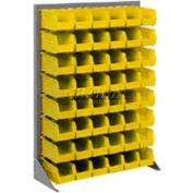 Global Industrial™ Singled Sided Louvered Bin Rack 35x15x50 - 42 Yellow Premium Stacking Bins