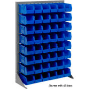 """Singled Sided Louvered Bin Rack 35""""W x 15""""D x 50""""H with 24 of Blue Stacking Akrobins"""
