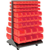 Mobile Double Sided Floor Rack With 100 Red Stacking Bins 36 x 55