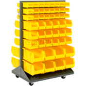 Mobile Double Sided Floor Rack With 100 Yellow Stacking Bins 36 x 55
