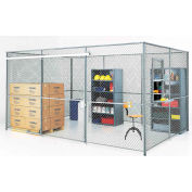 Wire Mesh Partition Security Room 30x20x8 with Roof - 3 Sides w/ Window