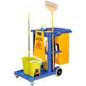 Global™ Janitor Cart Blue with 25 Gallon Vinyl Bag