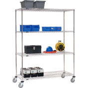 Nexel® Stainless Steel Wire Shelf Truck 72x24x80 1200 Lb. Cap. with Brakes