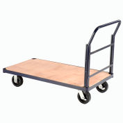 "Steel Bound Wood Deck Platform Truck 60 x 30 2000 Lb. Capacity 6"" Rubber Casters"