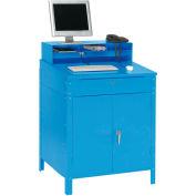 "Global Industrial™ Cabinet Shop Desk w/ Pigeonhole Riser, 34-1/2""W x 30""D, Blue"