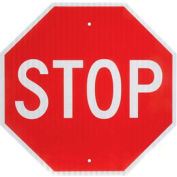 "Aluminum Sign - Stop - .080"" Thick, White/Red, 652645"