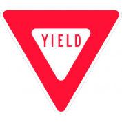 """Panneau en aluminium - Yield -. 080"""" Thick - rouge/blanc, TM124J"""