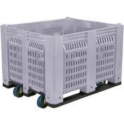 Décennie C40PGY1-C1 palette conteneur ventilé mur w / roulettes 48 x 40 x 31 gris 1500 livres capacité de 6 pouces