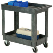 "Best Value Plastic 2 Shelf Tray Service & Utility Cart 34 x 17 5"" Rubber Casters"