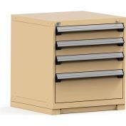 Rousseau Modular Storage Drawer Cabinet 30x27x32, 4 Drawers (3 Sizes) w/o Divider, w/Lock, Beige