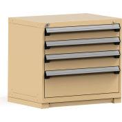 Rousseau Modular Storage Drawer Cabinet 36x24x32, 4 Drawers (3 Sizes) w/o Divider, w/Lock, Beige