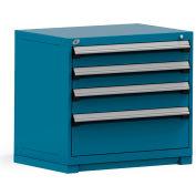 Rousseau Modular Storage Drawer Cabinet 36x24x32, 4 Drawers (3 Sizes) w/o Divider, w/Lock, Blue
