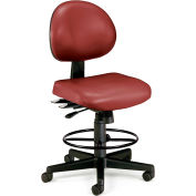 OFM 24 Hour Ergonomic Armless Task Chair with Drafting Kit, Antimicrobial Vinyl, Mid Back, Wine
