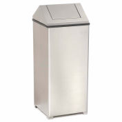 Rubbermaid® 24 Gallon Square Stainless Steel Waste Receptacle, FGT1424SSRB