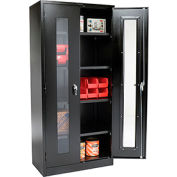 Global® Clear View Storage Cabinet Assembled 36x18x78 - Black