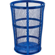 Outdoor Metal Trash Container Blue, 48 Gallon