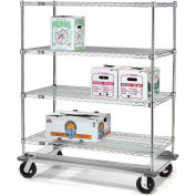 Nexel® E-Z Adjust Wire Shelf Truck with Dolly Base 60x18x70 1600 Lb. Cap.