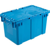 Global Industrial™ Plastic Attached Lid Shipping & Storage Container DC2213-12 22-3/8x13x13 BL