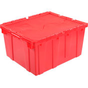 Global Industrial™ Plastic Attached Lid Shipping & Storage Container 23-3/4x19-1/4x12-1/2 Red