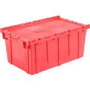 """Global Industrial™ Plastic Shipping/Storage Tote W/Attached Lid, 27-3/16""""x16-5/8""""x12-1/2"""", Red"""