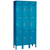 Paramount® Locker 3 Tier 12 X 15 X 24 9 Door Ready To Assemble Blue