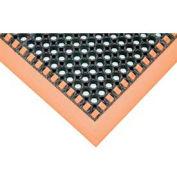 """SafetyTruTred™ Hi-Vis Drainage Mat w/Grit Top , 3-Sided Border, 7/8"""" Thk, 38""""x52"""", Blk/Orange"""