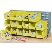 "Louvered Bench Rack 36""W x 20""H with 22 of Yellow Premium Stacking Bins"
