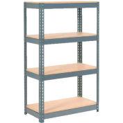 Rayonnage ultrarobuste à 4 étages, surface en bois, 36 po L x 24 po P x 72 po H