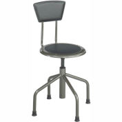 Safco® Low Base Stool with Backrest - Steel - Silver