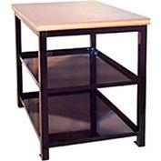 """Built-Rite Double Shelf Shop Stand, Laminate Square Edge, 24""""W x 36""""D x 36""""H, Blue"""