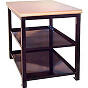 "Built-Rite Double Shelf Shop Stand, Maple Butcher Block Square Edge, 24""W x 36""D x 36""H, Gray"