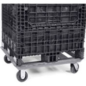 """Steel Dolly For Bulk Container DKD4048 - 48x40 Footprint, 2 Swivel, 2 Rigid 5"""" Casters"""
