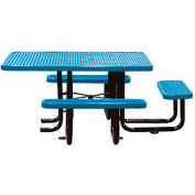 """58"""" Picnic Table (ADA) Blue Expanded Metal Surface Mount Style"""