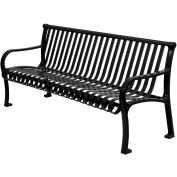 "60"" Bench Straight Top Ribbed Style - Black"