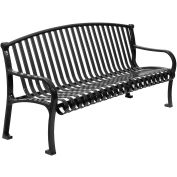 "72"" Bench Curved Top Ribbed Style - Black"