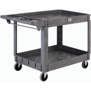 "Large Deluxe 2 Shelf Plastic Utility & Service Cart 5"" Rubber Casters"