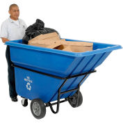 Deluxe Blue Heavy Duty Plastic Tilt Truck 1 Cubic Yard and 1250 Lb. Capacity