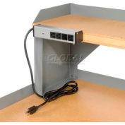 """Built-Rite Power Strip W/ 4 Outlets, 16""""W, Gray"""