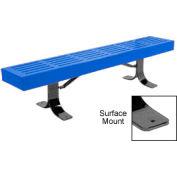 "48"" Slatted Flat Bench Surface Mount Style - Blue"