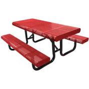 """120"""" Table de Surface Mount pique-nique du bord radial, perforé métal - rouge"""