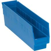"Quantum Plastic Shelf Storage Bin - QSB203 Nestable 4-1/8""W x 17-7/8""D x 6""H Blue - Pkg Qty 20"