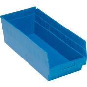 "Quantum Plastic Shelf Storage Bin - QSB208 Nestable 8-3/8""W x 17-7/8""D x 6""H Blue - Pkg Qty 10"