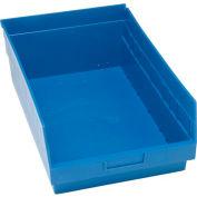 "Quantum Plastic Shelf Storage Bin - QSB210 Nestable 11-1/8""W x 17-7/8""D x 6""H Blue - Pkg Qty 8"